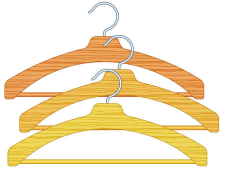 plywood: Illustration of the clothes hangers set Illustration