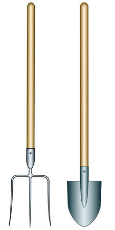 Illustration of the pitchfork and spade tools Illustration