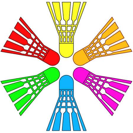 feathering: Illustration of the badminton shuttlecocks set
