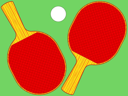 Illustration of the rackets and ball set for table tennis also known as ping-pong Illustration