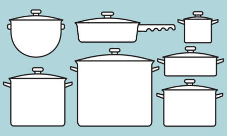 Illustration of the saucepans collection Illustration