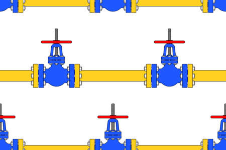 shutoff: Seamless pattern of the pipeline valves Illustration