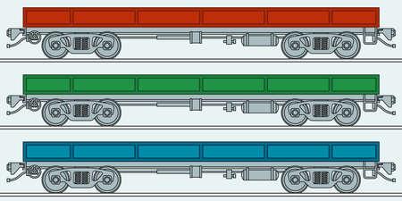 bogie: Illustration of the flatcar wagon icon Illustration
