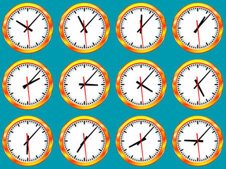 mounting: Illustration of gold clock collection with different time according to the time zones. All arrows are free rotated Illustration