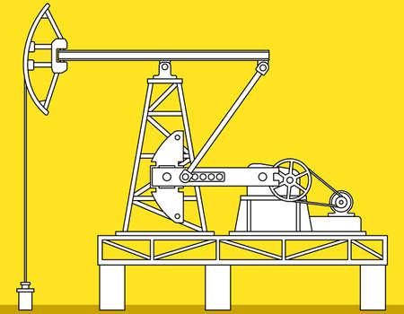 Illustration of the oil pumpjack derrick icon