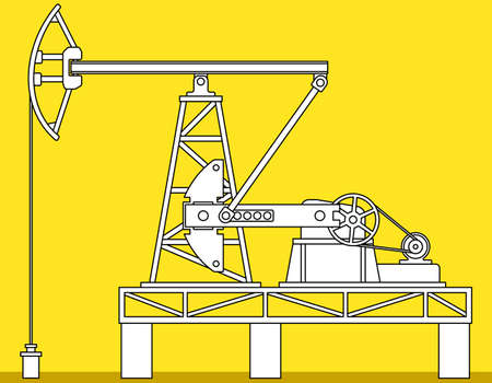 hydrocarbons: Illustration of the oil pumpjack derrick icon