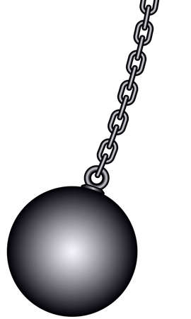 gyve: Illustration of the weight ball with chain Illustration