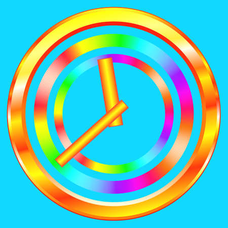analogous: Illustration of the abstract gold clock icon. Arrows can be freely rotated