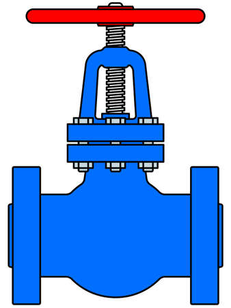 implement: Illustration of the steel pipeline valve icon Illustration