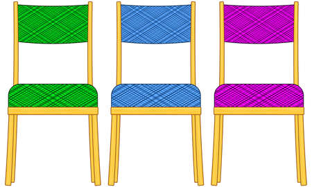 padded stool: Illustration of the classic domestic padded chairs set