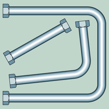 sanitary engineering: Illustration of the pipes with screw nuts set