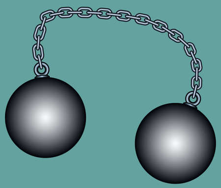 Illustration of the weight balls connected with chain Illustration