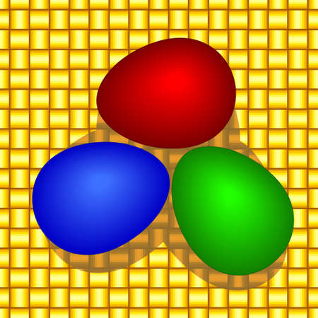 Illustration of the painted easter eggs on wattled background