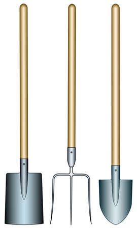 Illustration of the pitchfork, spade and shovel tools Banco de Imagens - 53763906
