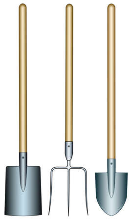Illustration of the pitchfork, spade and shovel tools