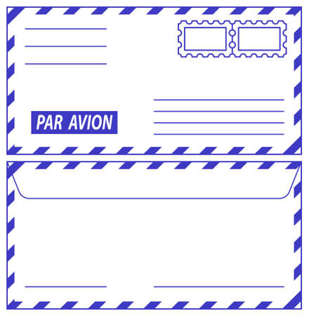 philately: Illustration of the airmail envelope icons