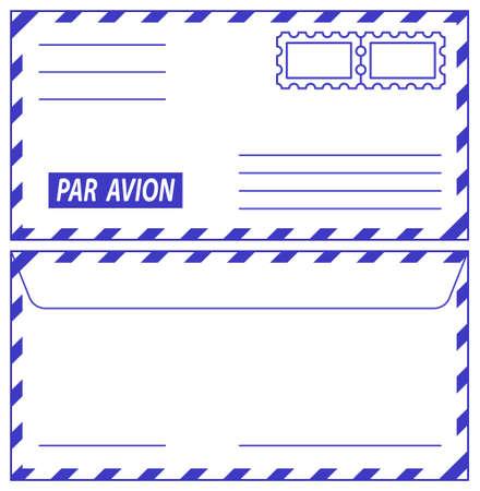 par avion: Illustration of the airmail envelope icons