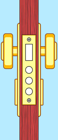 Illustration with the lateral face of door and lock inside