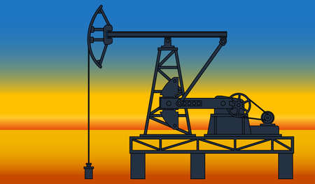 oilwell: Industrial evening landscape with the oil pumpjack derrick on desert