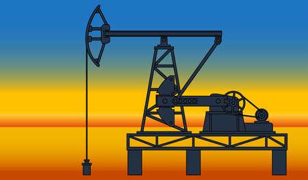 Industrial evening landscape with the oil pumpjack derrick on desert