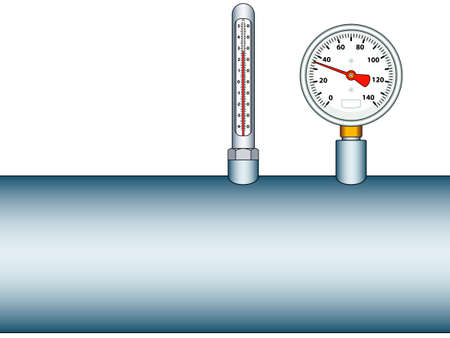 manometer: Illustration of the manometer and thermometer on pipe icon Illustration