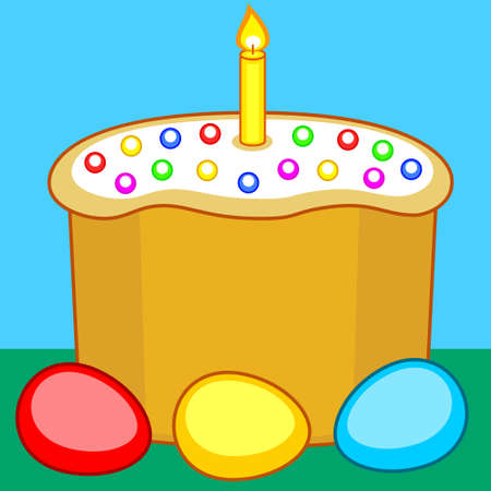 paskha: Illustration of the Easter cake, candle and eggs Illustration
