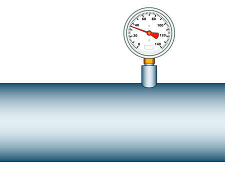 gauging: Illustration of the manometer on pipe icon