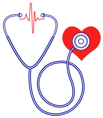 auscultation: Illustration of the medical stethoscope and heart pulse symbols