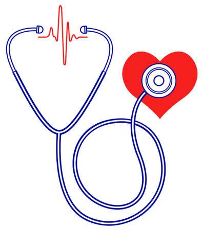 Ilustración de los médicos y el estetoscopio del corazón símbolos de impulsos
