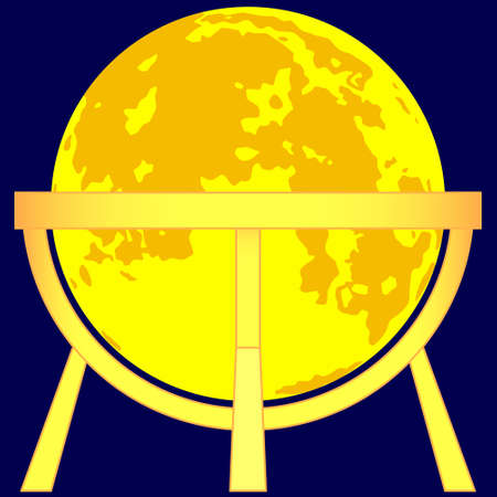 sphere base: Illustration of the Moon globe on gold stand icon Illustration