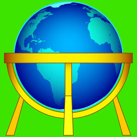 metal legs: Illustration of the Earth globe on gold stand icon.