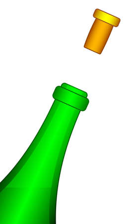 popping cork: Illustration of the bottle and taken-off cork