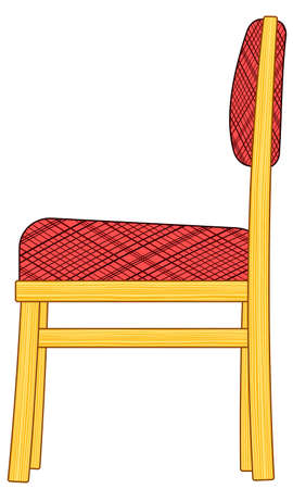 padded stool: Illustration of the classic domestic padded chair icon. Side view