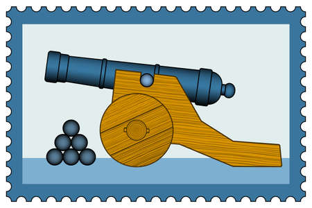 gunfire: Illustration of the old cannon icon on postage stamp