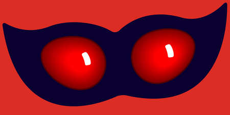on the lookout: Illustration of the cartoon abstract mask on red Illustration