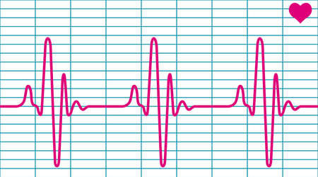 pulse trace: Illustration of the cardiogram and heart symbol Illustration