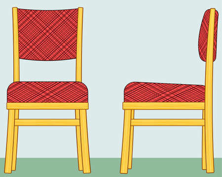 padded stool: Illustration of the classic domestic padded chair. Front and side view