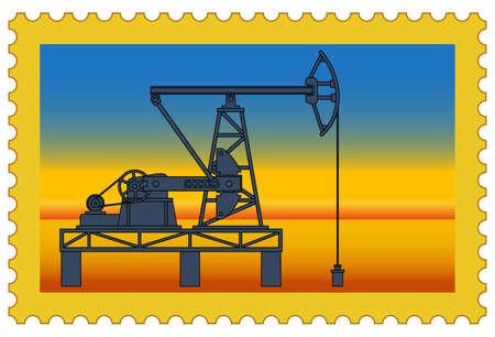 Illustration of the postage stamp with oil pumpjack derrick on desert