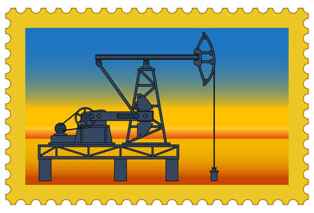 hydrocarbons: Illustration of the postage stamp with oil pumpjack derrick on desert
