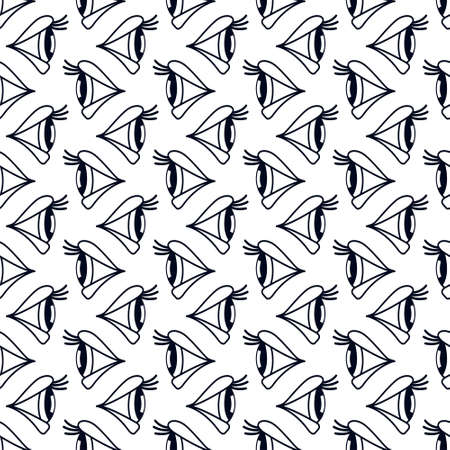on the lookout: Seamless pattern of the eyes side view