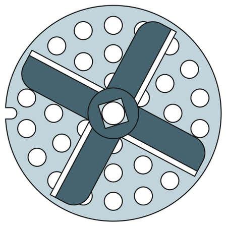 steel mill: Illustration of the meat grinder knife icon Illustration