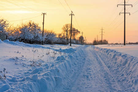 winter evening: Winter evening landscape with the snowed road