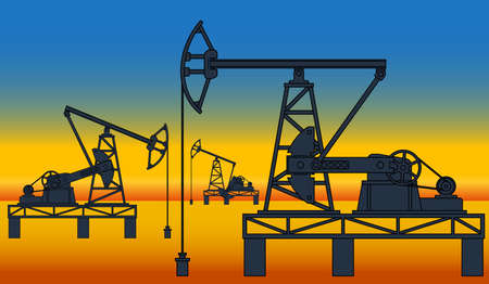 oilwell: Industrial evening landscape with the oil pumpjack derricks on desert background Illustration