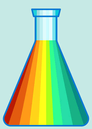 Illustration of the abstract laboratory flask icon Çizim