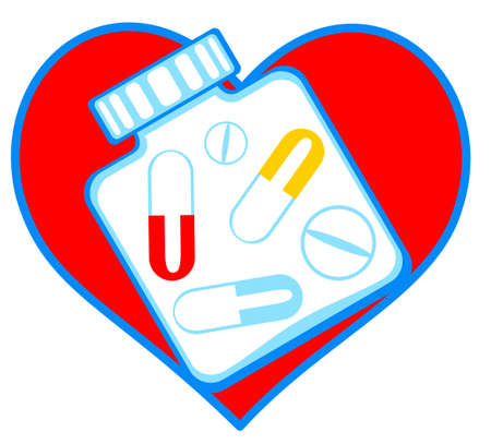 ampoule: Concept illustration of the heart and tablets Illustration