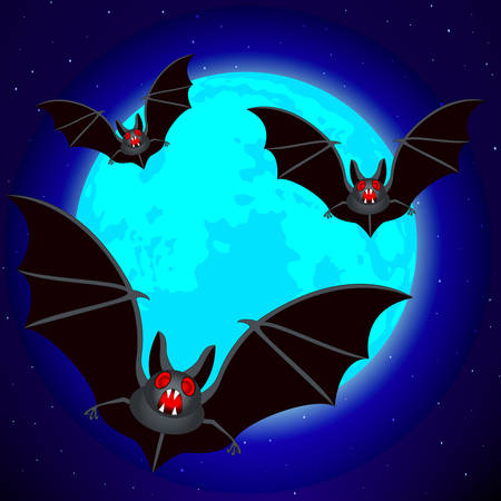 Bats on the blue Moon and starry sky background