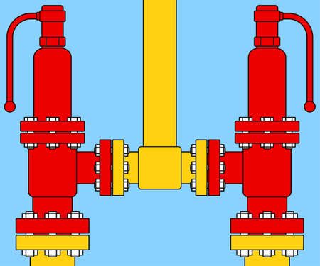 excess: Illustration of the double safety overload relief valves icon