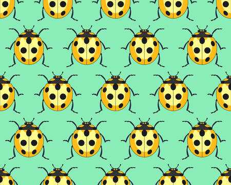 Seamless pattern of the yellow ladybug insects
