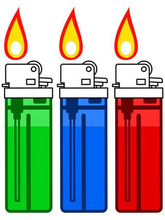 gas lighter: Illustration of the gas lighter set Illustration