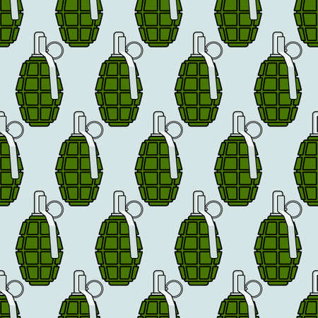 Seamless pattern of the military grenades